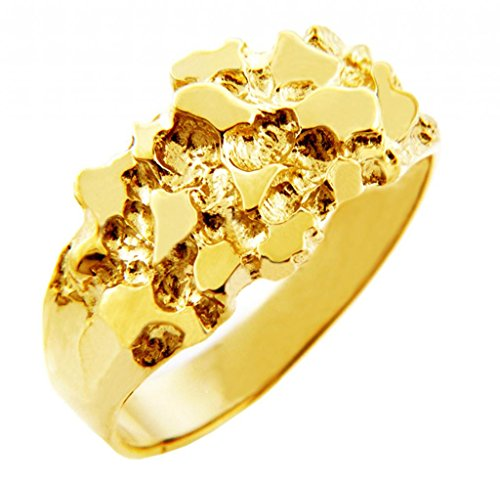 Men's Gold Nugget Rings - The Knight Solid Gold Nugget Ring(10K) (5)