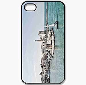 Protective Case Back Cover For iPhone 4 4S Case Lake Wharf Landscape Black
