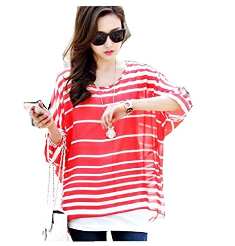 HP95(TM) Women's Bohemian Style Batwing Sleeve Chiffon Beach Loose Shirt (Red 2) from HP95(TM)
