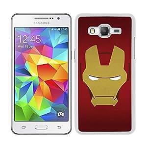 Funda carcasa para Samsung Galaxy Grand Prime diseño cara Ironman superhéroe borde blanco