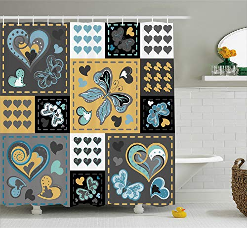 - Ambesonne Vintage Shower Curtain, Dark Textured Vintage Ornament with Heart and Butterfly Motif in Mix Retro Design, Cloth Fabric Bathroom Decor Set with Hooks, 70
