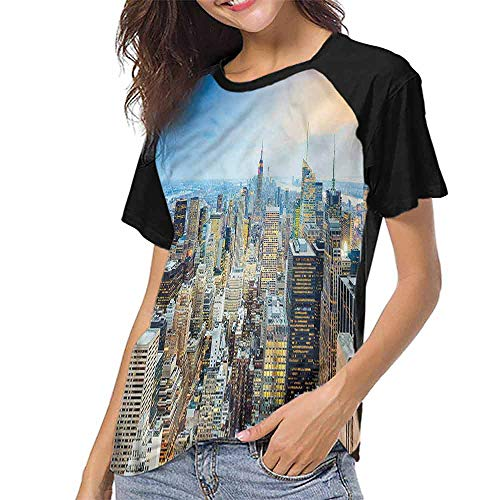 Tight Tops Tee,American,Aerial View New York City S-XXL Women Personalized T-Shirt O-Neck