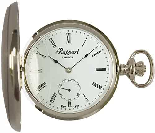 Vintage Pocket Watch with Chain by Rapport - Classic Oxford Hunter Case Pocket Watch with Sub-Seconds - Silver
