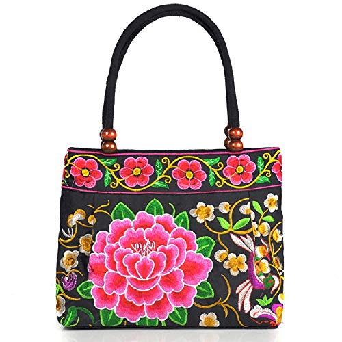 Graduation Embroidered Blanket - Serstone Vintage Embroidery Ethnic Boho Women's Handbag Mandala Flower Embroidered Totes Travel Beach Bag (Red Peony)