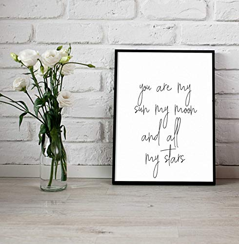 (Arvier EE Cummings Printable You are My Sun My Moon and All My Stars Printable Quote Printable Typography Print Nursery Room Print Framed Wall Art)