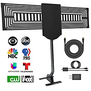 HD TV Antenna Outdoor, Tryace 150 Mile Digital HDTV Antenna Reception Rang with Signal Bosster, 360 Degree Omni-Directional Amplifier and Mounting Pole Mount,33FT Coaxial Cable Support UHF/VHF/FM