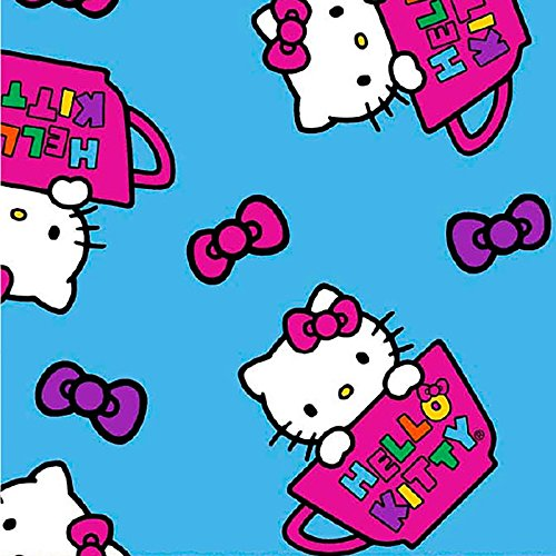 HELLO KITTY FLANNEL FABRIC - Hello Kitty Blue - Flannel - SCFLAN03 - By Half Yard - 100% Cotton