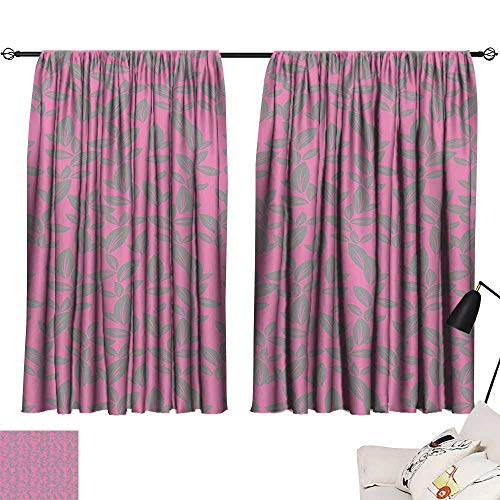 (Anzhutwelve Window Draperies Floral,Big Grey Flower Petals on Pink Background Falling Leaves Natural Theme Artwork,Pink and Grey W55 x L63 Blackout Curtains for Bedroom )