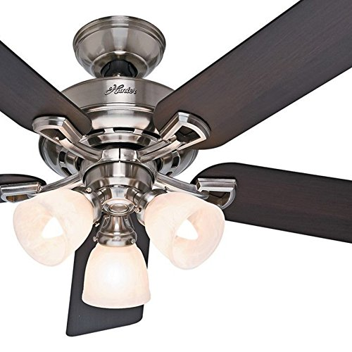 Hunter Fan 52 inch Brushed Nickel Ceiling Fan with Light Kit and Remote Control (Renewed)
