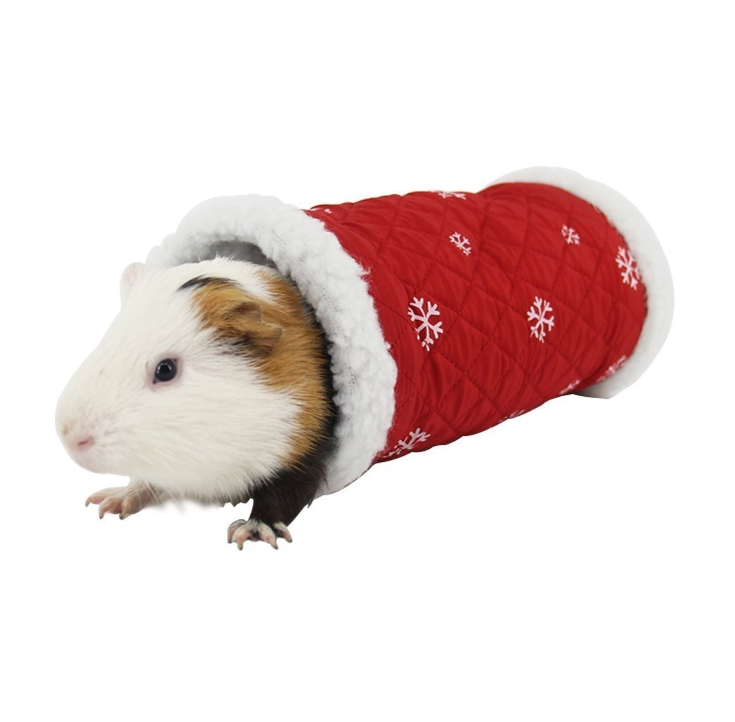 Small Pet Animal Tunnel Toy, Stock Show Winter Warm Berber Fleece Tube Hideout Bed Playing Channel for Hamster/Gerbil Rat/Guinea Pig/Chinchilla/Squirrel, Red