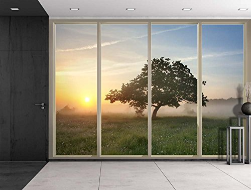 Lone Tree on a Foggy Prairie Field as the Sun Rises Viewed From Sliding Door Creative Wall Mural Peel and Stick Wallpaper