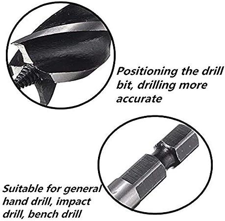 DULALA Broca helicoidal de v/ástago Hexagonal Broca helicoidal de Cuatro Ranuras Broca de barrena de Trabajo de Madera de Cuatro Cuchillas 10 mm-32 mm