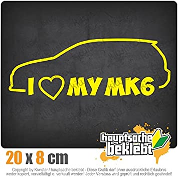 I Love my MK6 20 x 8 cm IN 15 FARBEN - Neon + Chrom! Sticker Aufkleber Kiwistar