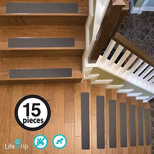 - LifeGrip Non-Slip Stair Treads (15-Pack), Anti-Slip Tape, 4