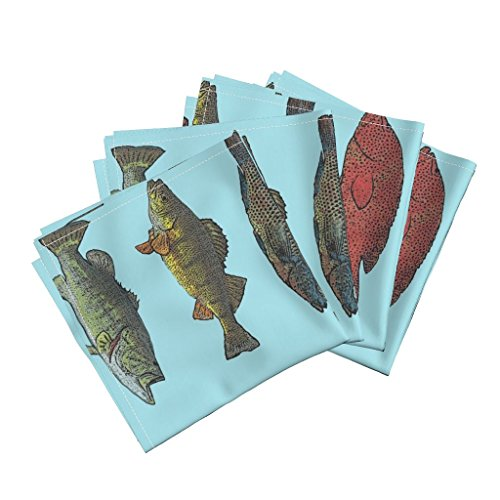 Roostery Trout Organic Sateen Dinner Napkins Fish Species by Lauriekentdesigns Set of 4 Cotton Dinner Napkins Made