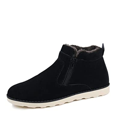 f03c5c5be49cfe Leader Show Men s Winter Fur Lined Snow Boot Side Zipper Ankle High Warm  Shoe (6.5