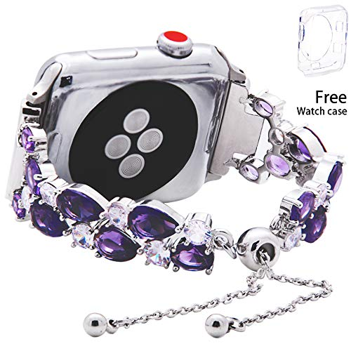 KAI Top Silver Petite Band with Bold CZ Mosaic for Apple Watch Band 38mm 42mm, Adjustable Women Jewelry Watch Cuff Bangle Wristbands Replacement for iwatch Series 3 2 1 (Purple, 38mm)