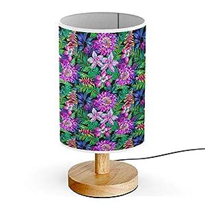 ARTSYLAMP – Wood Base Decoration Desk Table Bedside Light Lamp [ Dark Jungle Watercolor Fashion ]