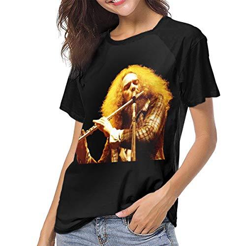 Women's Short-Sleeve Summer T-Shirts, Jethro Tull Ian Anderson Breathable Blouses Tops Black