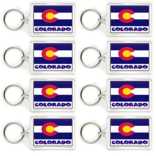 8 Souvenir Colorado Flag Double Sided Acrylic Key Rings 2 Sizes Available Wholesale Lot (Large)