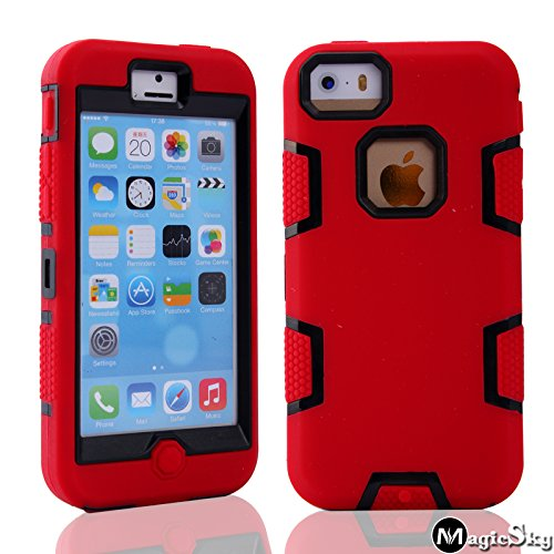 5C Case, iPhone 5C Case Cover, Magicsky Full Body Hybrid Impact Shockproof Defender Case Cover for Apple iPhone 5C, 1 Pack(Black/Red)