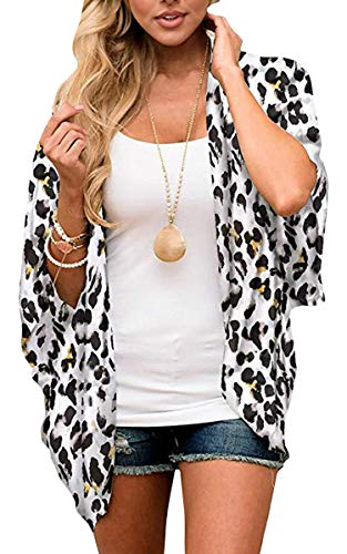 - ECOWISH Womens Floral Print Loose Puff Sleeve Kimono Cardigan Lace Patchwork Cover Up Blouse