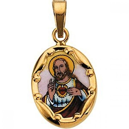 14K Gold and Porcelain Sacred Heart Religious Medal - 14k Yellow Gold 1 Inch X 3/4 Inch (25.0mm X 19.5mm) -