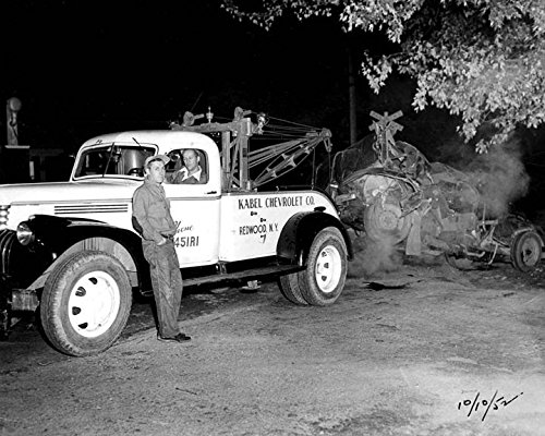 Chevrolet Wrecker - 1947 Chevrolet Redwood NY Wrecker Tow Truck Crash Photo Poster