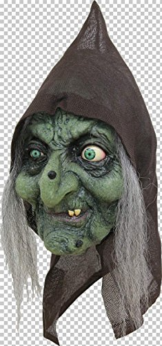 Scary Green Old Hag Witch Woman Costume Mask with Hair and Hood for Halloween Party ()