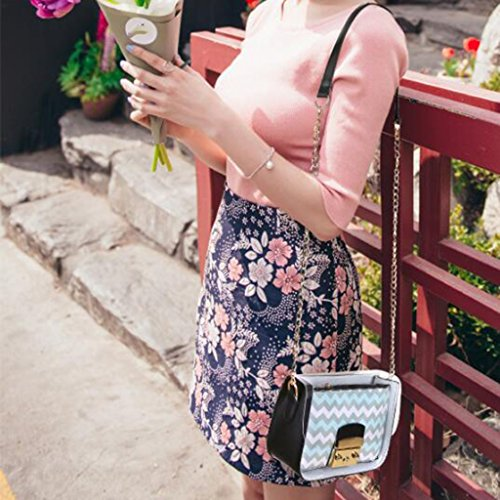Di Sacchetto Della Donne Cellulare Banda Dell'unità Burlone Spiaggia Colore Elegante Azzurro 15cm Quadrata Crossbody Gelatina Sabbia Catena Trasparente 8 Contrasto Spalla Del Elaborazione 19 wtpApqzdx