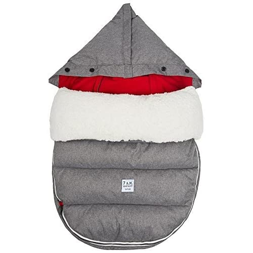 Image of Baby 7 A.M. Enfant Lamb POD with Base Footmuff-Heather Grey with Red Fleece Lining-Medium/Large