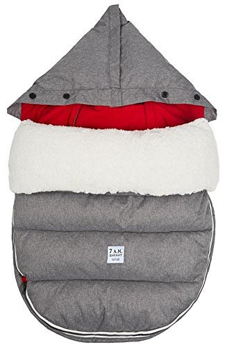 7 A.M. Enfant Lamb POD with Base Footmuff-Heather Grey with Red Fleece Lining-Medium/Large by 7A.M. Enfant