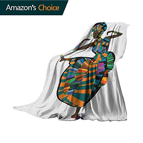 African Woman Patterned Blanket,Black Girl in a Traditional Dress Performing an Ethnic Dance Native Zulu Warm Couch/Bed Throws Blanket,30