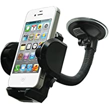 LotFancy Cell Phone Holder - Mobile Phone Car Mount - 360° Rotation Windshield Dashboard Cradle for GPS iPhone X 8 7 7Plus 6 6Plus 5S 5 5C Samsung Galaxy S7 Edge 6S Smartphones