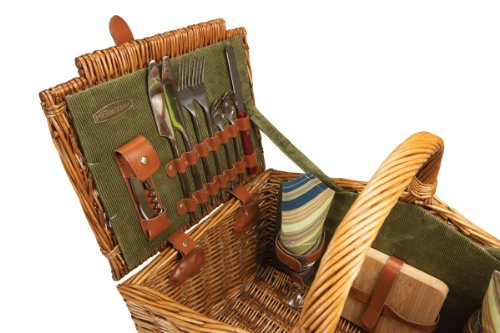 Picnic Time 'Somerset' English-Style Double Lid Willow Picnic Basket with Service for 2, Sage Green with Stripes