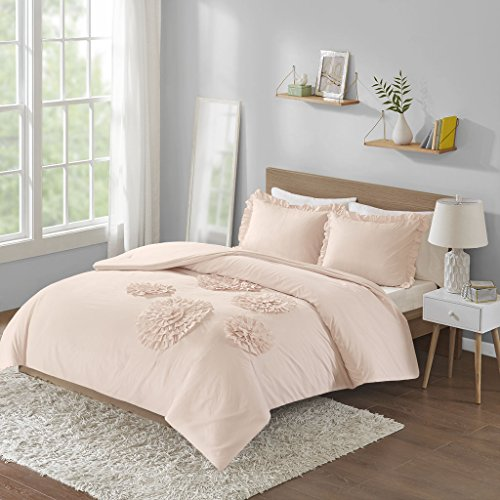 Lio Duvet Covers - Intelligent Design Ella Comforter Reversible Embellished Flower Floral Botanical Ruffle Ultra-Soft Brushed Overfilled Down Alternative Hypoallergenic All Season Bedding-Set, Full/Queen, Blush