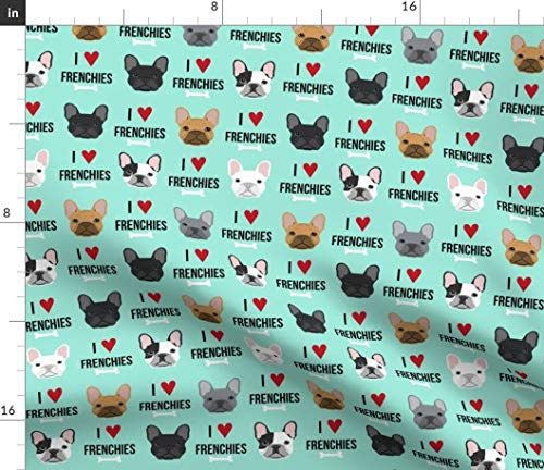 Spoonflower Frenchie Fabric - Frenchie French Bulldog French Bulldogs Dog Dogs Dog Pet Portrait Gift by Petfriendly Printed on Fleece Fabric by The Yard ()