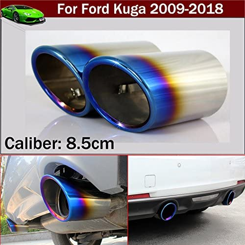 New 2pcs Stainless Steel Car Tailpipe Exhaust Muffler Tail Pipe Tip Extension Pipes End Pipes Blue Color Custom Fit For Kuga 2013 2014 2015 2016 2017 2018 2019