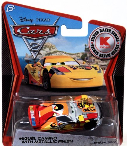 Disney PIXAR Cars 2 Miguel Camino With Metallic Finish Silver Racer Series Silver Racer Series
