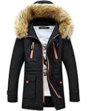 LuckYoung Men's Winter Fur Collar Mid-Long Hooded Down Jacket Warm Thick Padded Coat