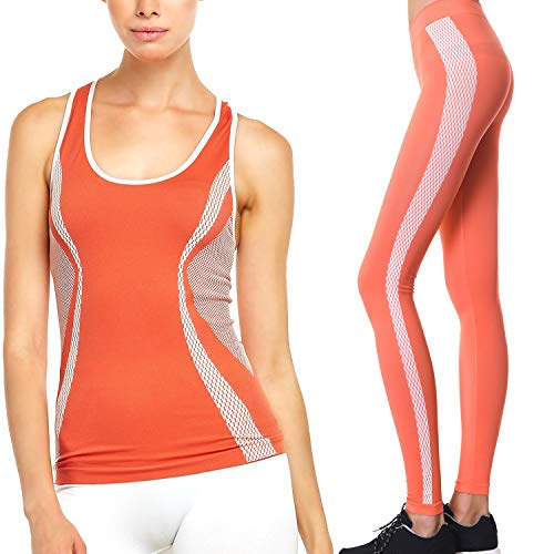 Workout Clothes Womens Active 2 Piece Yoga Set Activewear Outfit - Exercise Yoga Tank Top and Pants Leggings (One Size Fits All, ()
