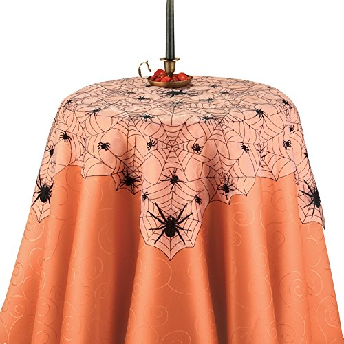 Collections Etc Halloween Embroidered Spider Web Table Linens with Scalloped Edges, Square ()