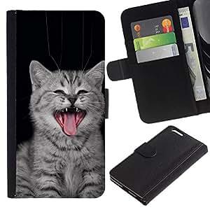 All Phone Most Case / Oferta Especial Cáscara Funda de cuero Monedero Cubierta de proteccion Caso / Wallet Case for Apple Iphone 6 PLUS 5.5 // Cat Yawn