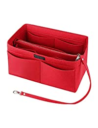 Felt Purse Handbag Organizer Insert Multipocket Linner Organizer 13 Pockets Bag in Bag Backpack Travel Storage Pockets Red Large