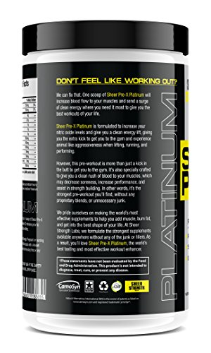 Extra Strength Nitric Oxide Boosting Pre Workout – Gluten-Free and Non-GMO – 30 Preworkout Powder Servings for Men and Women – Cotton Candy – Pre X by Sheer Strength Labs – 422g Cotton Candy