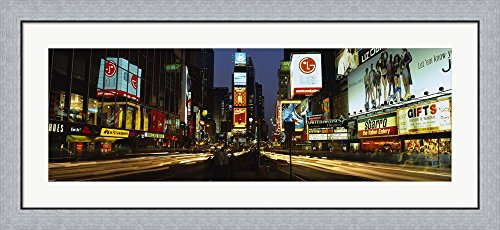 Shopping malls in a city, Times Square, Manhattan, New York City, New York State, USA by Panoramic Images Framed Art Print Wall Picture, Flat Silver Frame, 44 x 20 - Shopping York New Malls Manhattan In