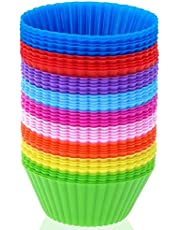 36 Pack Silicone Baking Cups, Reusable Silicone Muffin Liners, Nonstick Cupcake Liner, for Cake Balls, Muffins, Cupcakes and Candies, Assorted Bright Colors Heat Resistant up to 233℃/ 450℉