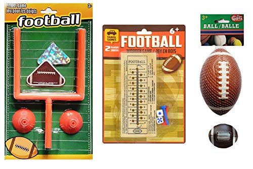 Football Activity and Game Set for Kids Ages 5 +| Foam Football, Table Finger Flick and Classic Wooden Peg Games, and Foam Hacky Sack