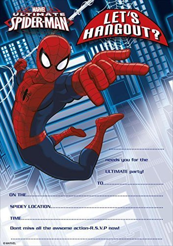 MARVEL ULTIMATE SPIDER MAN PARTY INVITATIONS Pack Of 20