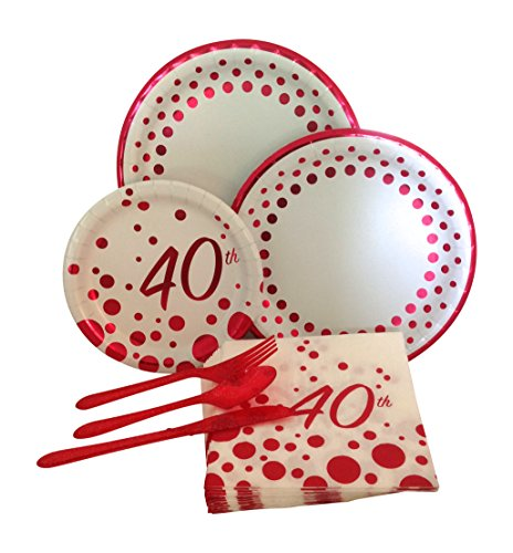 40th-Ruby-Anniversary-Birthday-Party-Supply-Pack-Bundle-Includes-Paper-Plates-Napkins-Silverware-for-8-Guests